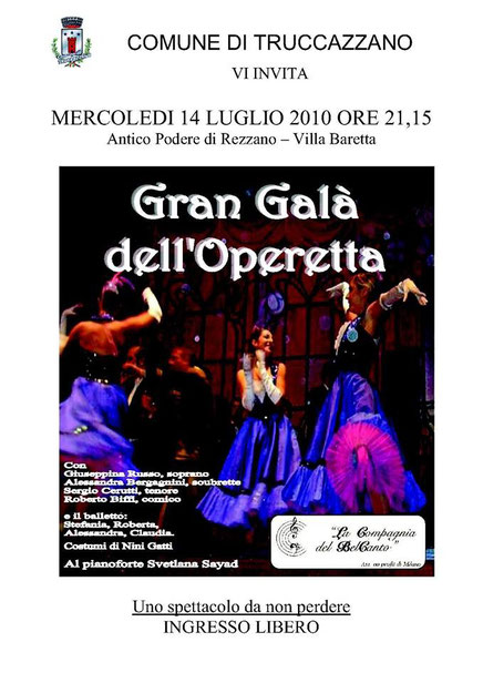GRAN GALA' DELL'OPERETTA – Truccazzano, 14/07/2010