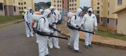 Cameroun - Covid19 - Une équipe de désinfection à Olembé