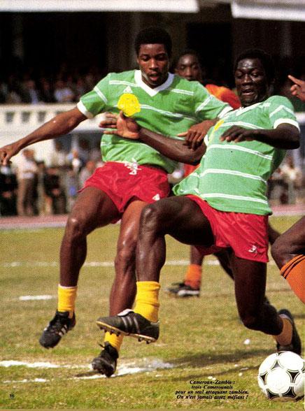 Can 86 - Match Cameroun-Zambie. Ibrahim Aoudou et André Kana Biyick