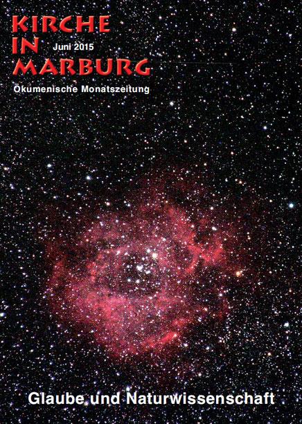 Das Titelfoto zeigt den Rosettennebel, ein Sternentstehungsgebiet. Hier, wenn man so möchte, ist gerade der 4. Schöpfungstag. Gott macht die Sonnen. Foto: Franz Langstein