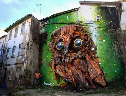 Street art gemaakt van afval by Bordalo Segundo #BORDALOII #badass #recycling #swOWL