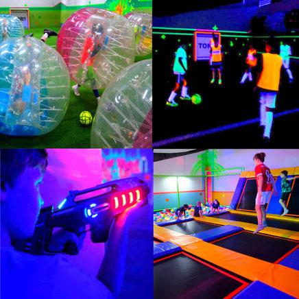 schloß holte stukenbrock-kindergeburtstag-trampolinhalle-lasertag-bubblesoccer-nerf-schwarzlicht-fussball-ninja-parkour-soccerhalle