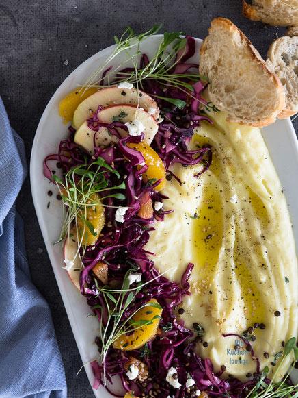 Kartoffel-Hummus mit winterlichem Krautsalat