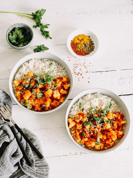 Vegetarische Tikka Masala mit Blumenkohl