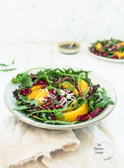 Heckengäu-Linsen als bunter Salat mit Orangen und Granatapfel