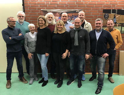 T. Deberding, H. Meyer (stellv. Vors.), Sigrid Melchior, Yvonne Roller, Rainer Gels (Badminton-AL), Anja Lebeth, Andreas Sander (1. Vors.), G. Schmitz (Kassenwart), Nico Neuhaus, Hanjörg Helms (Handball-AL), P. Berthold (TT-AL); Scheper+Schmitt fehlen