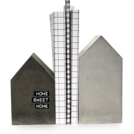Concrete House Sculpture Bookend Set by PASiNGA