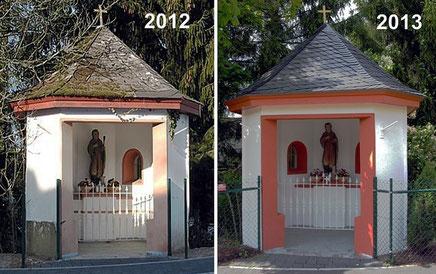 Das Pluwiger Kapellchen (Wendelinus-Kapellchen) vor und nach der Renovierung.
