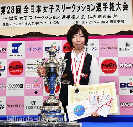Yuko Nishimoto won 2021 All Japan Ladies 3 cushion Championships (3 times).