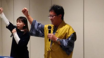 今年の新入隊員 山本夫妻による森田城代、勝又戦家老の勝鬨の物真似、よく似ていました。
