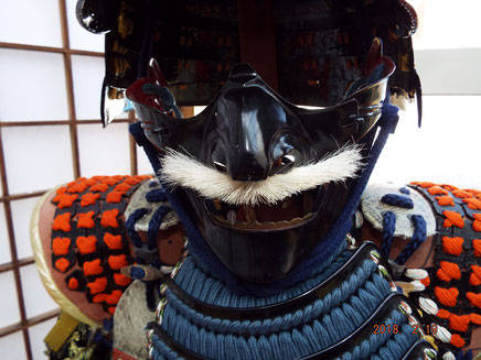 黒漆塗り面皰(目の下頬)髭付 故所澤貞雄氏製作