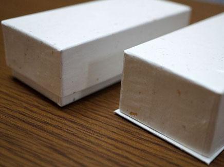 白の金銀振り大礼紙を使って別注で作製した手づくりチョコレート用の貼り箱
