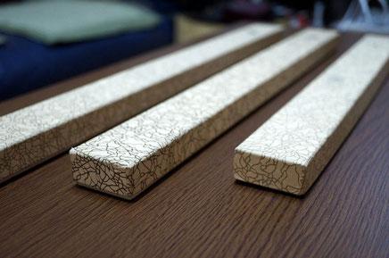 金糸目柄のお香用貼り箱は3種類の大きさで作製しました