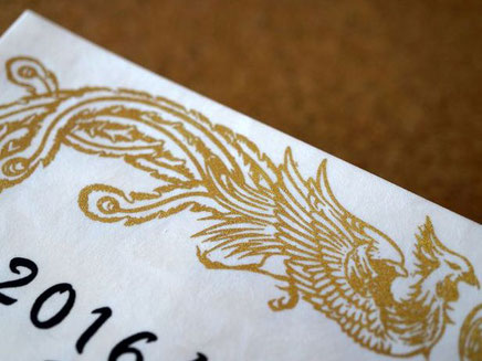 鳳凰の飾り枠はオリジナルのデザインでシルク印刷でプリントしています