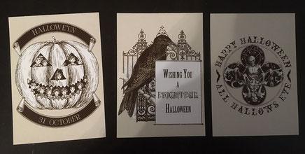 3 Halloweenpostkarten