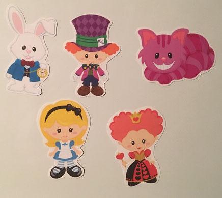 """5 Magnete """"Alice im Wunderland"""" von Pixel Paper Prints LLC"""