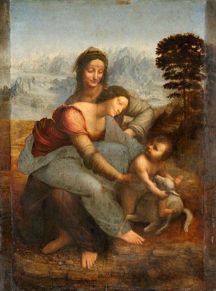 Самые известные картины Леонардо да Винчи - Святая Анна с Мадонной и младенцем Христом