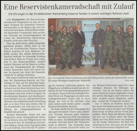 Aus der Siegener Zeitung vom 23.03.19. Bericht über unseren RK Abend mit der Verleihung von Ehrenurkunden für langjährige Mitglieder.