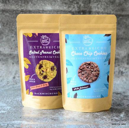 glutenfreie und vegane Backmischung von taste my cake Choco Chip Cookies und Salted Peanut Cookies
