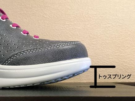 (写真2) 靴先が上に反っていることで蹴りだししやすくなっています