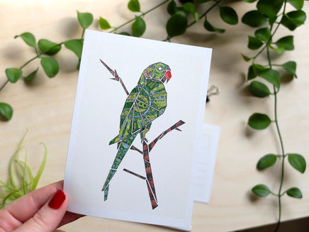 Kunstpostkarte Papagei Köln Michael Clarke Art