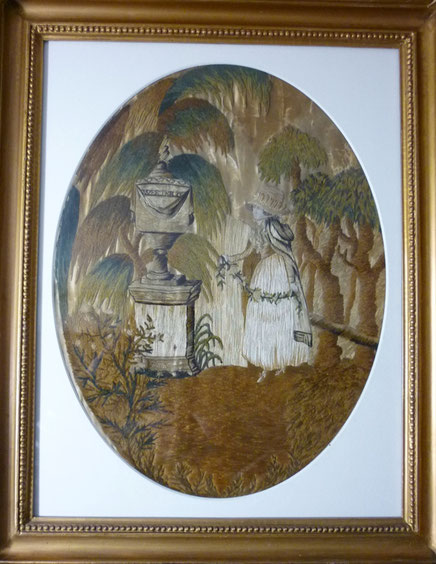 Early 19th century folk art silkwork picture