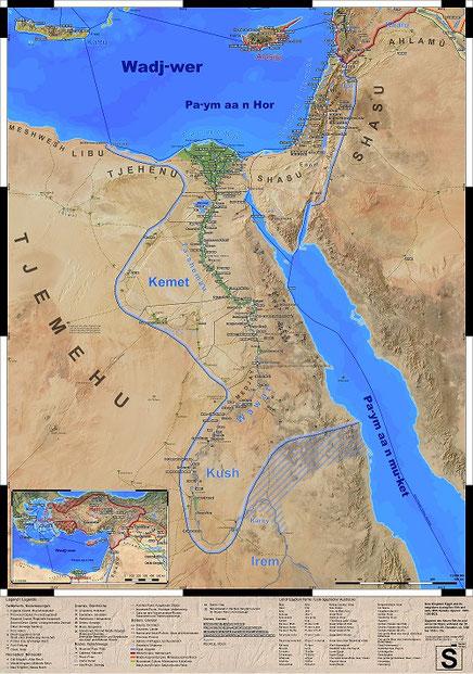 Landkarte des alten Ägyptens im Neuen Reich
