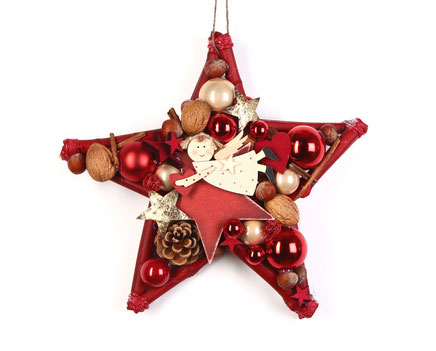 Roter Stern mit fliegendem Holzengel als Weihnachts Hänge Deko.