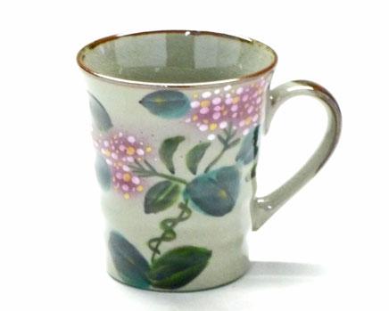九谷焼通販 おしゃれなマグカップ がく紫陽花 裏絵 正面の図