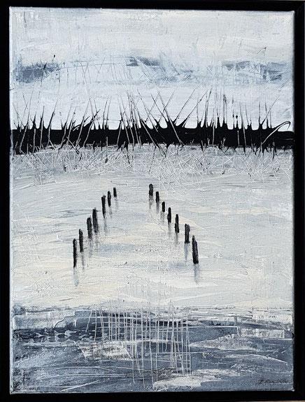 """""""Aufruhr"""" - 40cm x 30cm - Acrylmischtechnik auf Leiinwand - Schattenfugenrahmen Metall schwarz - verkauft -"""