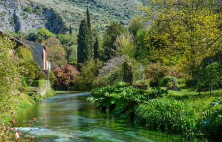 Ninfa Gardens near Roma, Latina province, Lazio, Italy