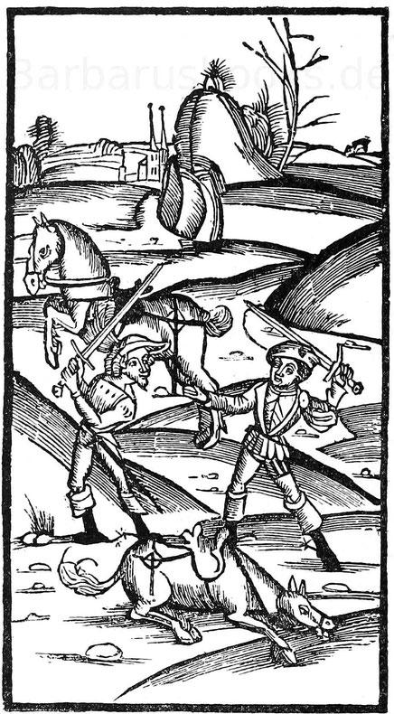 Zweikampf zwischen zwei Soldaten. Holzschnitt aus Historie von Kaiser Karls Sohn Lothar. Straßburg, 1514.