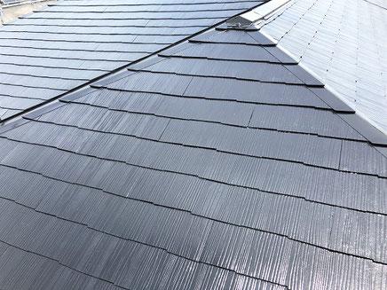 春日部市の戸建住宅、屋根塗装工事完成後の写真