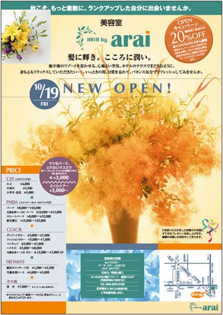 さいたま市所在美容室 4色(カラー)刷りオープン集客チラシ