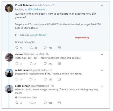twitter truffa criptovalute scam