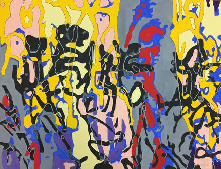 Gouache, blackboard paint, pastel pencil on cardboard 65 cm x 50 cm