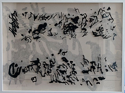 """""""Pastorale""""  India ink on two sheets of acrylic glass and pencil on primed hardboard. 80 cm x 60 cm."""