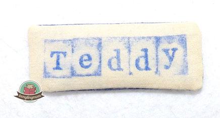 Schild stempeln auf Stoff Schrift