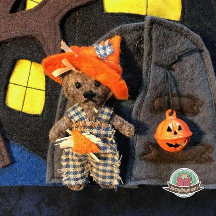 Spielbuch aus Filz, Teddy Halloween,   Schablone Nähanleitung