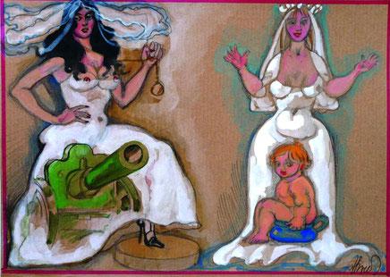 """Brusilovsky, Anatol, Die Braut """"Kanone des Regiments"""" und """"Die Anstandswahrende"""", Gouache, Aquarell, farbige Papier, Karton, 30 x 23 cm, 2010-2014"""