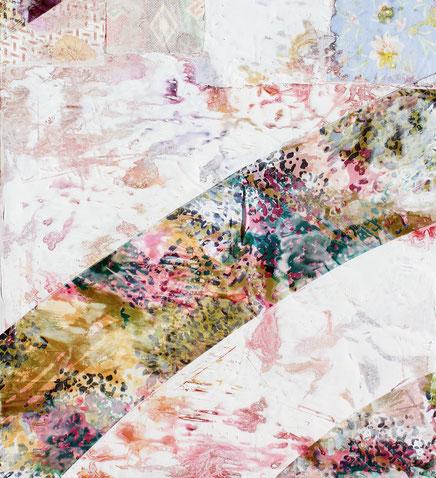 Magie des formes et des couleurs associées pour cette peinture de Valera où l'eau joue avec les matières