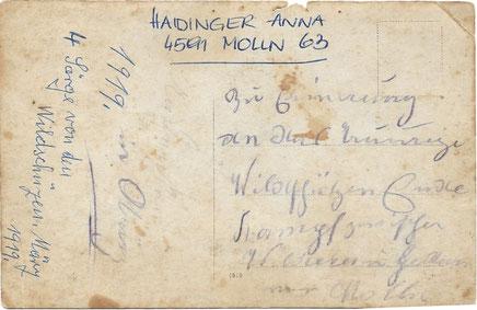Rückseite des Fotos vom Wildererbegräbnis vom März 1919