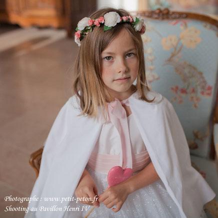 Cape enfants cérémonie en velours de coton blanc. Cape pour mariage de printemps ou d'été. Cortège mariage.