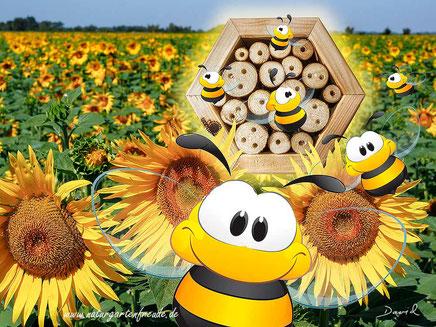 """""""""""Die Nützlingswabe mit ihren Hohlräumen aus Holz bietet Mauerbienen ideale Bruthöhlen"""".  Prima, ich wollte doch schon längst was für unsere Bienen tun und jetzt geht es sogar so einfach!"""