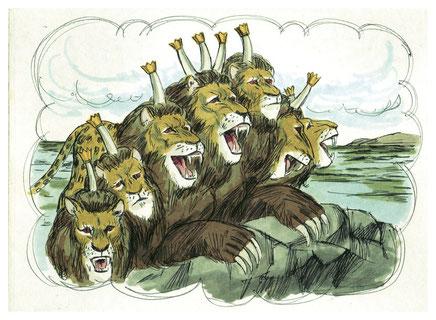 La bête sauvage à 7 têtes et 10 cornes qui sort de la mer l'humanité agitée va persécuter les chrétiens fidèles