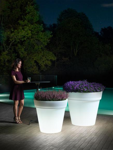 lyxo vase mit beleuchtung aus stabilem polyethylen