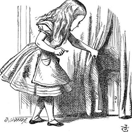 Illustration d'origine (1865), par John Tenniel (28 février 1820 – 25 février 1914), du roman de Lewis Carroll, Alice au pays des merveilles.