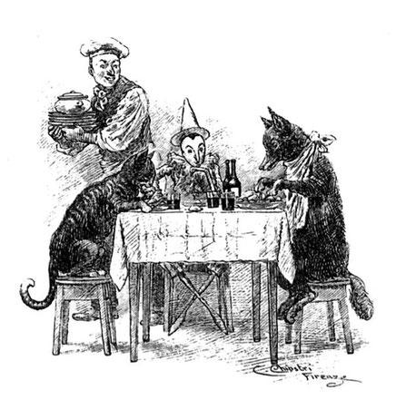 Riproduzione di un'illustrazione di Carlo Chiostri del Pinocchio di Collodi (1901)