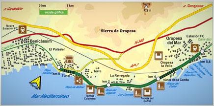 Mapa de la Ruta por la Costa del Azahar entre Oropesa y Benicàsim en  Castellón, Comunidad Valenciana.