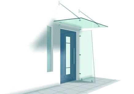 Glasvordach mit seitlichem Windschutz
